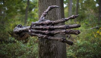 Andrew S. Geraci/The Washington Times An animatronic skeleton arm attached to a tree can catch patrons who visit Creepywoods Haunted Woods in Kingsville, Md., off guard.