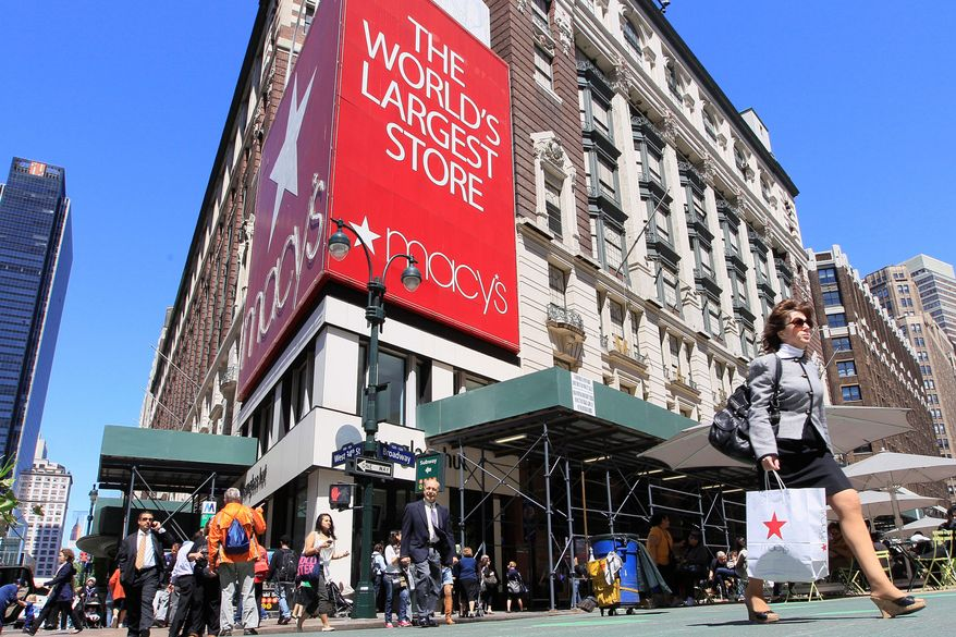 """Macy's, host of the iconic Thanksgiving Day Parade, now is promoting a day of thanks that adds """"go to work"""" so others can """"go shopping"""" to the traditional list of activities on the all-American holiday. (Associated Press)"""