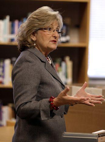 ** FILE ** Rep. Diane Black, Tennessee Republican, speaks in Murfreesboro, Tenn., on Nov. 9, 2011. (Associated Press)