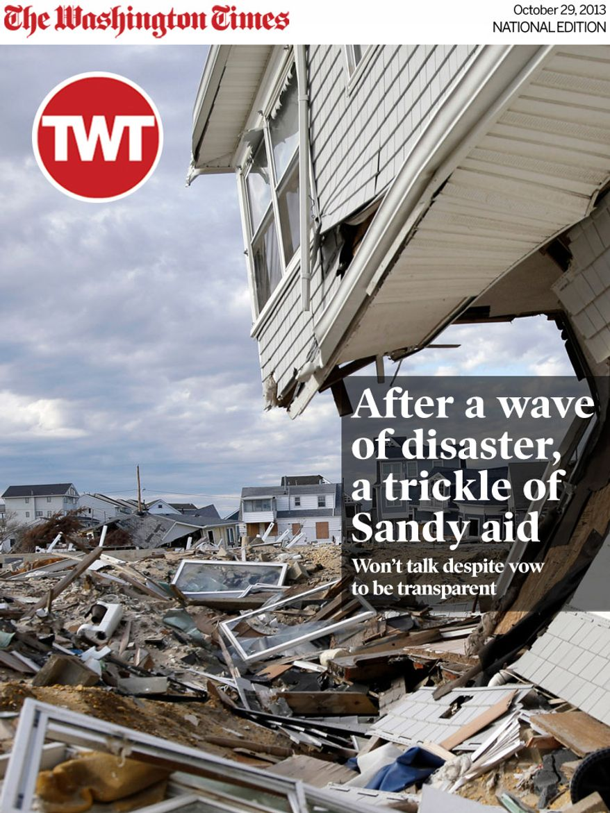 National Edition News Cover for October 29, 2013 - This combination of Thursday, April 25, 2013 and Sunday, Oct. 13, 2013 photos shows homes destroyed by Superstorm Sandy at Ortley Beach in Toms River, N.J. and an empty lot in the area six months later. (AP Photo/Mel Evans)