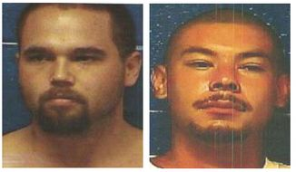 This undated photo provided by the Caddo County Sheriff's Office shows (L-R) Dylan Ray Three Irons, Anthony James Mendonca, Prime Brown,Triston Cheadle, four inmates who have escaped from the county jail in Anadarko, Okla. Authorities say the four inmates escaped by going through a trap door above the shower, early Sunday, Oct. 27, 2013. (AP Photo/Caddo County Sheriff's Office)