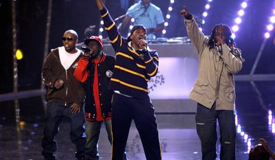 """Members of A Tribe Called Quest, from left, Consequence, Phife Dawg, Q-Tip and Jarobi White, perform during the fourth annual """"VH1 Hip Hop Honors"""" Thursday, Oct. 4, 2007 in New York.  (AP Photo/Jason DeCrow)"""