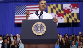 **FILE** President Obama speaks about the Affordable Care Act on Sept. 26, 2013, at Prince George's Community College in Largo, Md. (Associated Press)