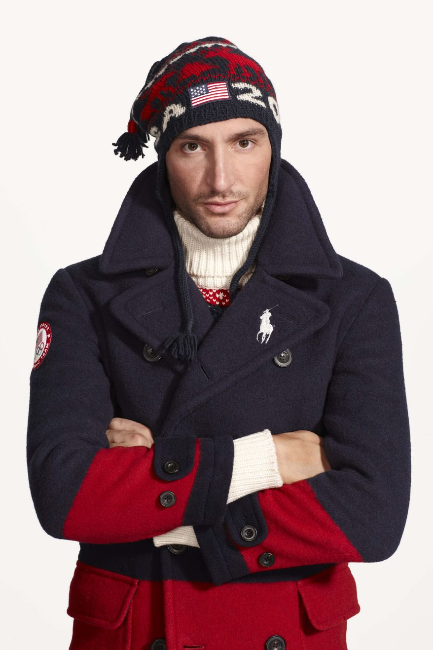 This undated product image provided by Ralph Lauren shows U.S. Olympic skater Evan Lysacek wearing fashion by designer Ralph Lauren for the 2014 Winter Olympics. Every article of clothing made by Ralph Lauren for the U.S. Olympic athletes in Sochi has been made by domestic craftsman and manufacturers. (AP Photo/Ralph Lauren)