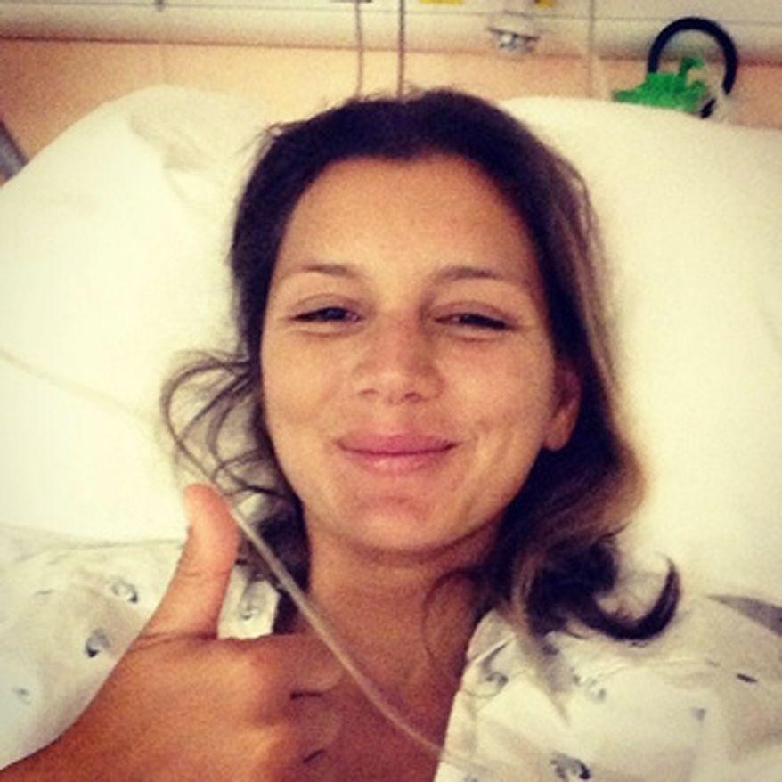 Surfer Maya Gabeira after her rescue.