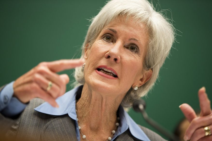 ** FILE ** Health and Human Services Secretary Kathleen Sebelius testifies on Capitol Hill in Washington, Wednesday, Oct. 30, 2013, before the House Energy and Commerce Committee hearing on the difficulties plaguing the implementation of the Affordable Care Act. (AP Photo/Evan Vucci)