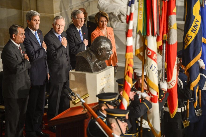 Left to right: U.S. Speaker of the House John Boehner (R-Ohio), United States Secretary of State John Kerry, Senate Majority Leader Harry Reid (D-Nev.), Senate Minority Leader Mitch McConnell (R-K.Y.), and House Minority Leader Nancy Pelosi (D-Calif.) stand as the National Anthems of Britain and the United States are played during a dedication ceremony for a bust of former British Prime Minister Sir Winston Churchill, pictured right, in Statuary Hall of the U.S. Capitol Building, Washington, D.C., Wednesday, October 30, 2013. The bust was authorized and passed by the House of Representatives shortly before the 70th anniversary of Churchill's wartime address to a joint meeting of Congress. (Andrew Harnik/The Washington Times)