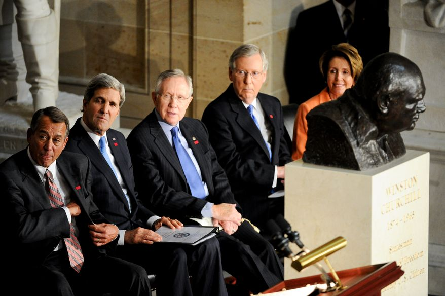 Left to right: U.S. Speaker of the House John Boehner (R-Ohio), United States Secretary of State John Kerry, Senate Majority Leader Harry Reid (D-Nev.), Senate Minority Leader Mitch McConnell (R-K.Y.), and House Minority Leader Nancy Pelosi (D-Calif.) attend a dedication ceremony for a bust of former British Prime Minister Sir Winston Churchill, pictured right, in Statuary Hall of the U.S. Capitol Building, Washington, D.C., Wednesday, October 30, 2013. The bust was authorized and passed by the House of Representatives shortly before the 70th anniversary of Churchill's wartime address to a joint meeting of Congress. (Andrew Harnik/The Washington Times)