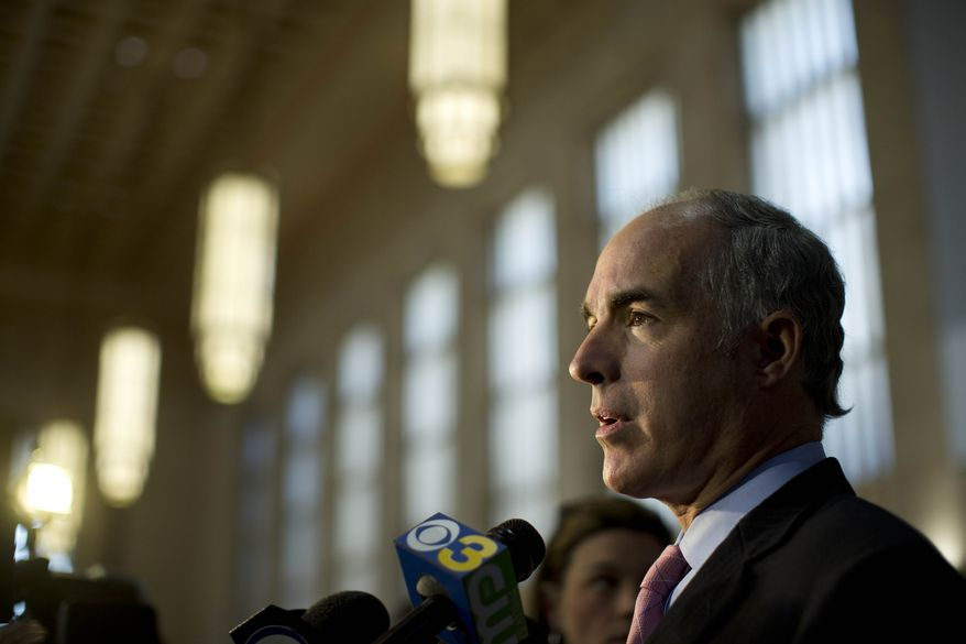 **FILE** Sen. Bob Casey, Pennsylvania Democrat, speaks during a news conference at 30th Street Station in Philadelphia,  on Sept. 30, 2013. (Associated Press)