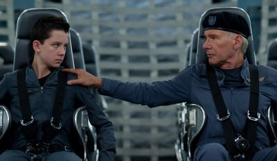 "Asa Butterfield, left, and Harrison Ford in a scene from ""Ender's Game."" (AP Photo/Summit Entertainment, Richard Foreman)"