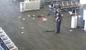 Photo from twitter of the crime scene after shoot out at LAX. Twitter:Allen Guru Deva@Allengurudeva