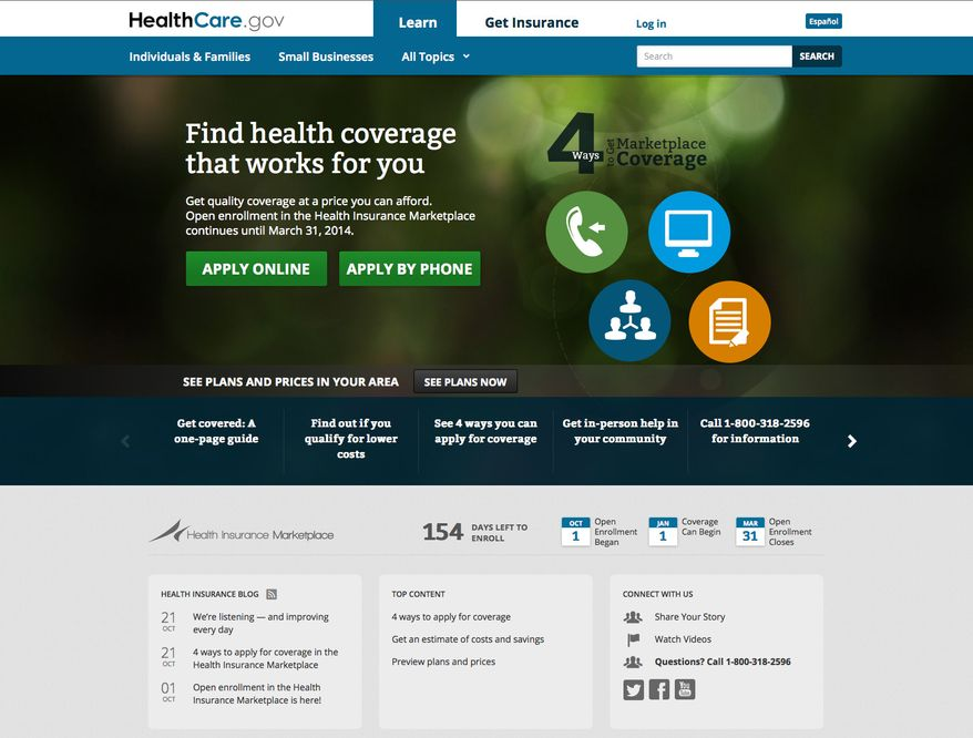 The main landing page of the HealthCare.gov website is pictured on Monday, Oct. 28, 2013. (AP Photo/Department of Health and Human Services)