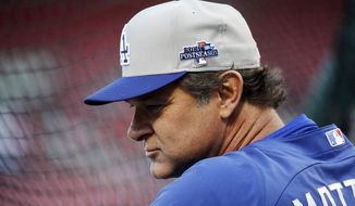 FILE - In this Oct. 11, 2013, file photo, Los Angeles Dodgers manager Don Mattingly watches during batting practice before Game 1 of the National League baseball championship series against the St. Louis Cardinals in St. Louis. (AP Photo/Charlie Neibergall, File)