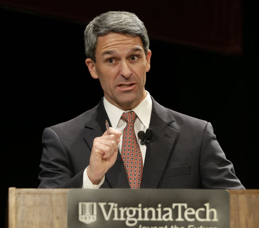 FILE - In this Oct. 24, 2013 file photo, Virginia Republican gubernatorial candidate, Virginia Attorney General Ken Cuccinelli, speaks in Blacksburg, Va. Women may hold the key in Virginia's slash-and-burn race for governor, rendering a final judgment on a campaign marked by fights over social issues. (AP Photo/Steve Helber, File)