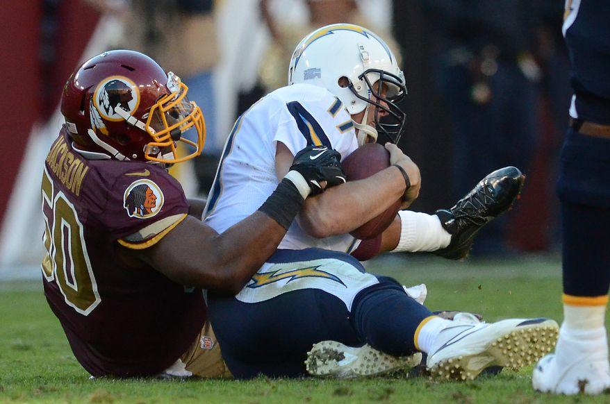 Washington Redskins outside linebacker Rob Jackson (50) sacks San Diego Chargers quarterback Philip Rivers (17) as the Washington Redskins play the San Diego Chargers at FedExField, Landover, Md., November 3, 2013. (Dan DeCook/Special to The Washington Times)