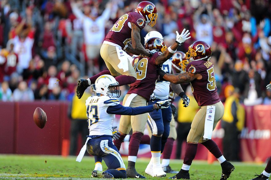 Washington Redskins free safety David Amerson (39) celebrates his fourth quarter interception intended for San Diego Chargers wide receiver Keenan Allen (13) at FedExField, Landover, Md., November 3, 2013. (Preston Keres/Special for The Washington Times)