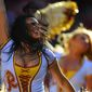 The Redskins Cheerleaders perform at FedExField, Landover, Md., November 3, 2013. (Preston Keres/Special for The Washington Times)