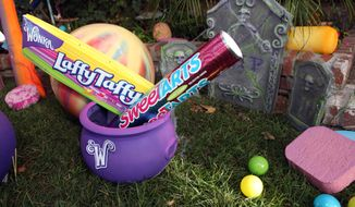 WONKA candy is seen outside of Kyle Richards' SweeTARTS Halloween house on Oct. 23, 2012, in Los Angeles. (Casey Rodgers/Invision for SweeTARTS/Associated Press)