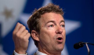 "FILE - In this Oct. 11, 2013, file photo, Sen. Rand Paul R-Ky. speaks during the Values Voter Summit, held by the Family Research Council Action in Washington. Paul in recent days has sought to dismiss criticism over similarities between his speeches and entries in Wikipedia, accusing ""footnote police"" and ""hacks and haters"" for unfairly criticizing him. (AP Photo/Jose Luis Magana, File)"