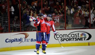 Washington Capitals right wing Alex Ovechkin, of Russia, left, celebrates his goal with Troy Brouwer, right, against the New York Islanders during the second period an NHL hockey game, Tuesday, Nov. 5, 2013, in Washington. (AP Photo/Nick Wass)