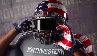 The Northwestern University Wounded Warrior uniforms made by Under Armor are drawing criticism ahead of game against Michigan. (credit: NU Athletics)