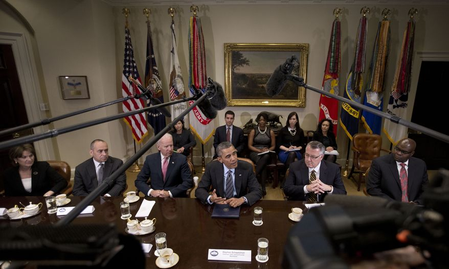 President Barack Obama and Vice President Joe Biden meet with business leaders to discuss immigration reform, Tuesday, Nov. 5, 2013, in the Roosevelt Room of the White House in Washington. From left are, Lockheed Martin President and CEO Marillyn Hewson, Deloitte CEO Joe Echevarria, the vice president, the president, Motorola CEO Greg Brown, and McDonald's President and CEO Don Thompson.   (AP Photo/Pablo Martinez Monsivais)