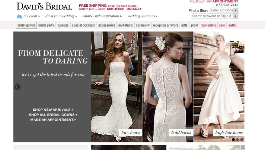 David's Bridal. (Screen grab of http://www.davidsbridal.com/)