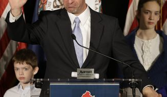 Republican gubernatorial candidate, Virginia Attorney General Ken Cuccinelli, delivers his concession speech during a rally in Richmond, Va., Tuesday, Nov. 5, 2013. Cuccinelli was defeated by Democrat Terry McAuliffe. (AP Photo/Steve Helber)