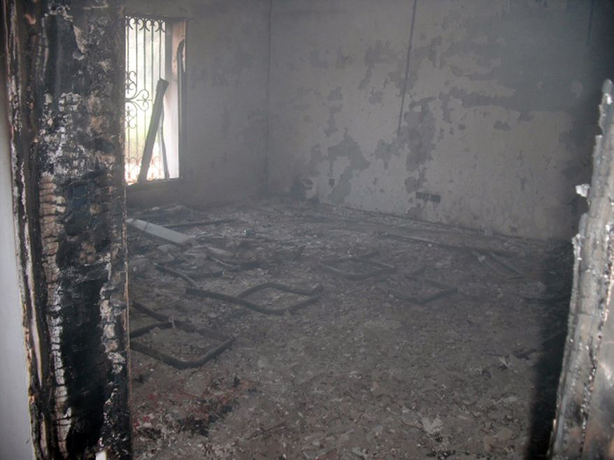 The Tactical Operations Center's political officers room on the morning after the Benghazi attack was still burning. (Photo by Morgan Jones)