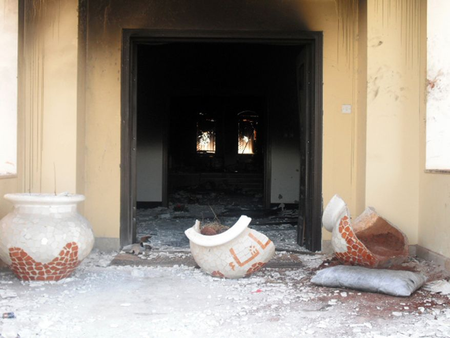 Benghazi compound burned out front entrance to the BIP villa, the morning after the attack. ((Photo by Morgan Jones)