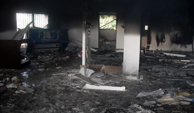 Benghazi compound burned out and the looted remains of the interior of the Tactical Operations Center's crime scene. (Photo by Morgan Jones)