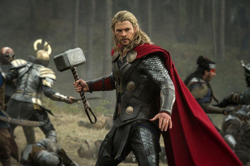"Chris Hemsworth in a scene from ""Thor: The Dark World."" (AP Photo/Walt Disney Studios/Marvel, Jay Maidment)"