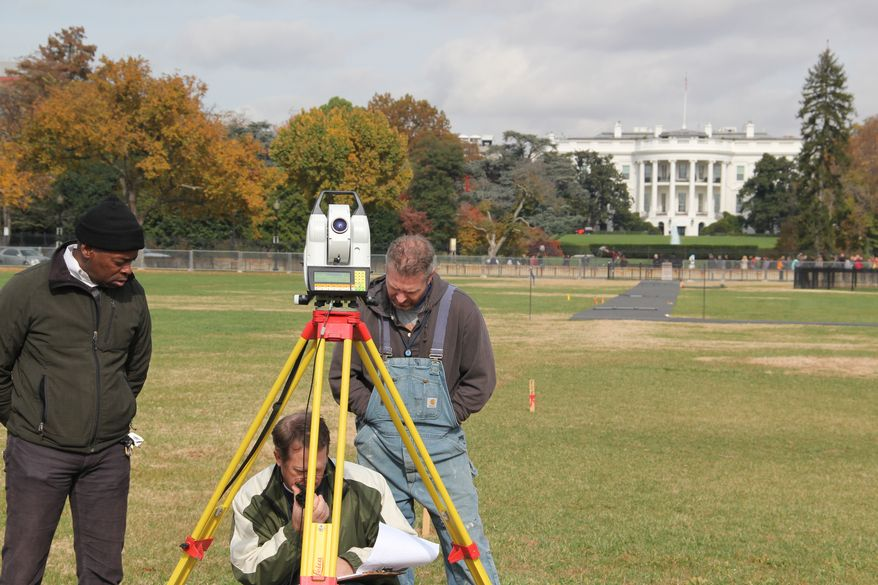 NOAA has been performing a geodetic survey of the peak of the Washington Monument this week as the scaffolding begins to be dismantled. The survey part of the on-going restoration of the Monument following the April 2011 earthquake.. Although the peak of the monument has been used as a visible survey point for over a century, it is extremely rare for the peak to be occupied by survey equipment. The last time the peak was occupied was in 1999 during a monument restoration project. NOAA has engineered an adapter to affix the GPS antenna on the peak of the monument for the project.