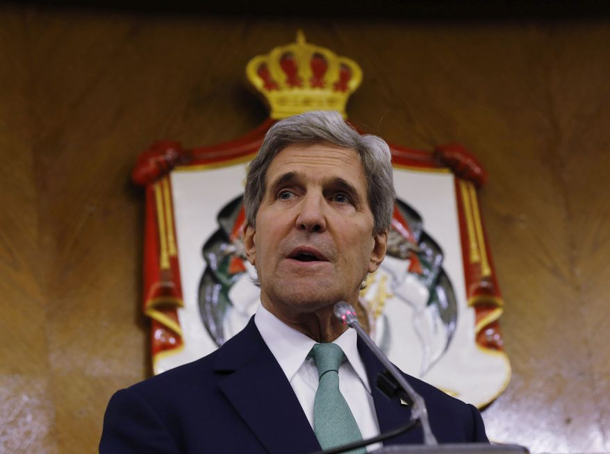 ** FILE ** U.S. Secretary of State John Kerry speaks at a press conference in Amman, Jordan, Thursday, Nov. 7, 2013. (AP Photo/Jason Reed, Pool)