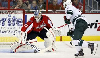 Washington Capitals goalie Braden Holtby (70) blocks a shot by Minnesota Wild center Charlie Coyle (3) in the shootout of an NHL hockey game, Thursday, Nov. 7, 2013, in Washington. The Capitals won 3-2. (AP Photo/Alex Brandon)