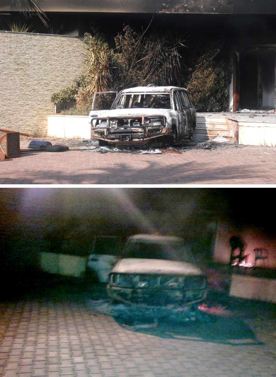 Remains of an armoured SUV the morning after the Sept. 11, 2012 Benghazi attack. (Photos by Morgan Jones)