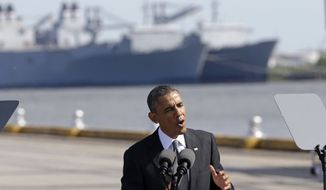 President Barack Obama speaks about the economy, Friday, Nov. 8, 2013, at the Port of New Orleans. Obama traveled to the Gulf Coast region to make a case that more exports equal more jobs. After New Orleans he will go to Miami area for three Democratic fundraisers. (AP Photo/Gerald Herbert)