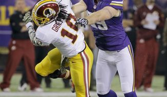 Minnesota Vikings defensive end Jared Allen (69) shoves Washington Redskins quarterback Robert Griffin III (10) during the first half of an NFL football game Thursday, Nov. 7, 2013, in Minneapolis. (AP Photo/Ann Heisenfelt)