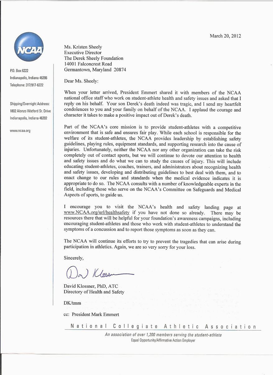 A copy of the letter sent by the NCAA to Kristen Sheely, mother of Derek Sheely. Frostburg State University football player Derek Sheely died from a brain injury he sustained during practice.