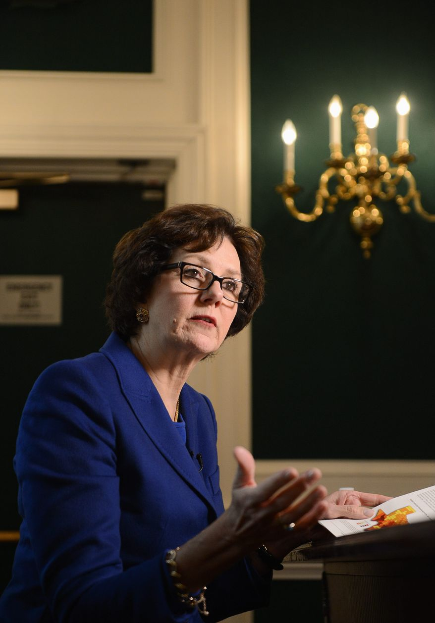 Texas Comptroller Susan Combs visited Capitol Hill to pitch her idea for independent species research. (Andrew Harnik/The Washington Times)