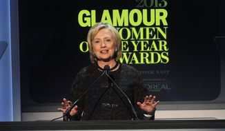 Former United States Secretary of State Hillary Clinton is seen on stage  at the 2013 Glamour Women of the Year Awards on on Monday, November, 11, 2013 in New York. (Photo by Brad Barket/Invision /AP Images)