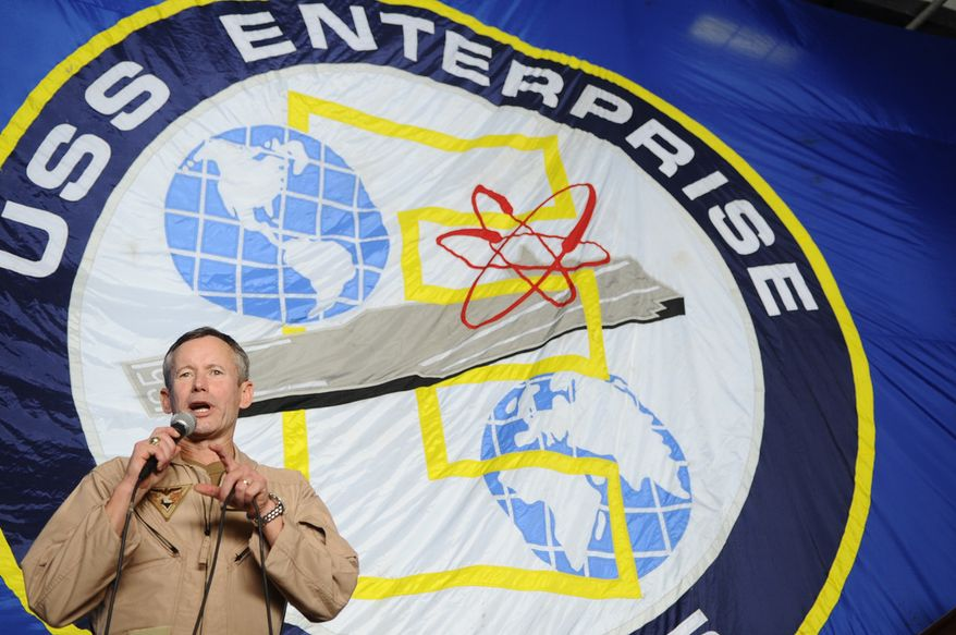 ARABIAN SEA (June 21, 2012) Rear Adm. Ted N. Branch, commander of Naval Air Forces Atlantic, speaks to the crew aboard the aircraft carrier USS Enterprise (CVN 65). Enterprise is deployed to the U.S. 5th Fleet area of responsibility conducting maritime security operations, theater security cooperation efforts and support missions as part of Operation Enduring Freedom. (U.S. Navy photo by Mass Communication Specialist 3rd Class Heath Zeigler/Released)