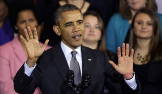 ** FILE ** In this Oct. 30, 2013, file photo, President Barack Obama speaks at Boston's historic Faneuil Hall about the federal health care law. (AP Photo/Stephan Savoia, File)