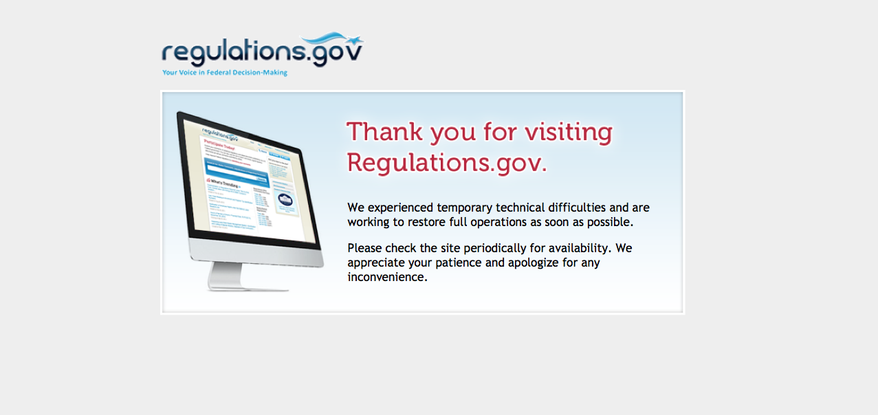 The site, Regulations.gov, greeted visitors with an error message. (Screen grab of Regulations.gov)