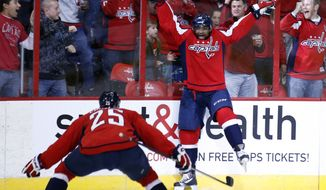 Washington Capitals right wing Joel Ward, right, celebrates his goal with left wing Jason Chimera (25) in the third period of an NHL hockey game against the Columbus Blue Jackets, Tuesday, Nov. 12, 2013, in Washington. The Capitals won 4-3 in overtime. (AP Photo/Alex Brandon)