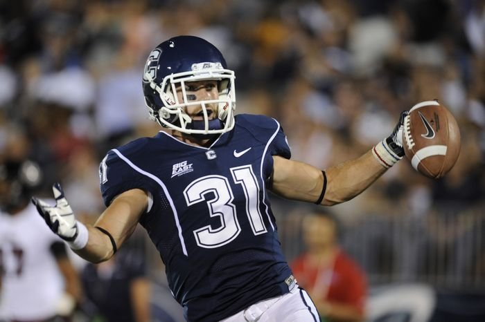 Connecticut's Nick Williams reacts after a play against Massachusetts during an NCAA college football game at Rentschler Field in East Hartford, Conn., Thursday, Aug. 30, 2012. (AP Photo/Jessica Hill)