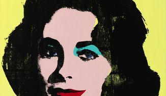 "This undated photo provided by Sotheby's shows Andy Warhol's portrait of Elizabeth Taylor, titled ""Liz #1 (Early Colored Liz),"" estimated to fetch between $20 million and $30 million on Wednesday evening, Nov. 13, 2013, when it comes up for auction at Sotheby's in New York. (AP Photo/Sotheby's)"