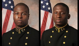FILE - July, 24, 2013, file photos provided by the U.S. Navy Football team, show Midshipman Eric Graham, left, and Midshipman Josh Tate. Vice Adm. Michael Miller, the academy superintendent, decided last month to court-martial Midshipmen Tate and Graham in the case involving an intoxicated classmate at an off-campus party. The alleged victim has testified she was drinking heavily at an off-campus party and has no memory of the alleged incidents. (AP Photo/U.S. Navy Football, File)
