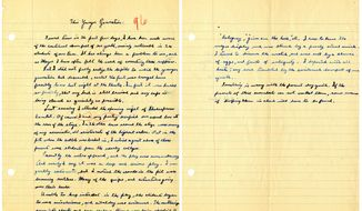"""This image provided by the Ronald Reagan Presidential Library shows a two-page essay written by Ronald Reagan titled """"This Younger Generation""""  written on Oct. 27, 1927, during his senior year in high school. In years gone by, penmanship helped distinguish the literate from the illiterate. But now, in the digital age, people are increasingly communicating by computer and smartphone. No handwritten signature necessary. Cursive writing is not being taught in many schools as some 45 states have adopted Common Core standards, which have eliminated the teaching of cursive writing.(AP Photo/Ronald Reagan Presidential Library)"""