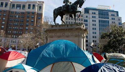 Conservatives and others will rally next week near the White House to demand the president's resignation. Organizers are taking a page from the Occupy movement, which had people camping in McPherson Square from late 2011 to early 2012. Tents still remain throughout McPherson Square less than an hour before the deadline set by the National Park Service for Occupy DC protesters to remove camping material from McPherson Square and Freedom Plaza, Washington, DC, Monday, January 30, 2012. (Andrew Harnik / The Washington Times) (andrew harnik/the washington times)